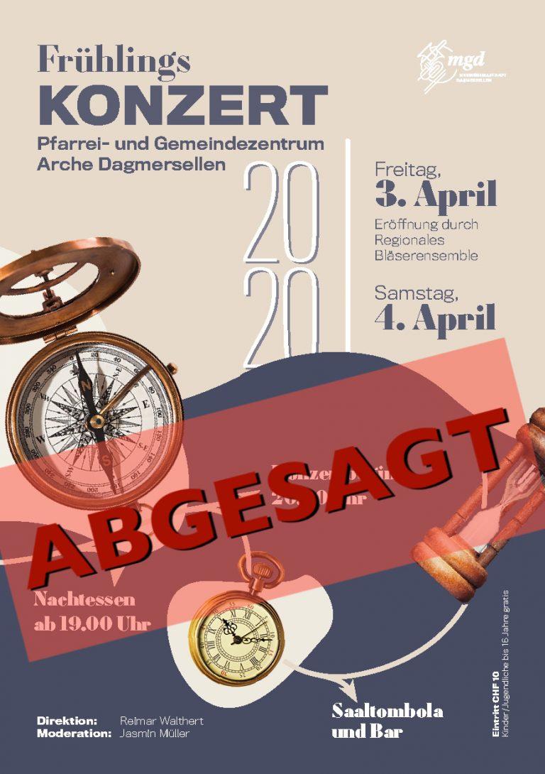Absage Frühlingskonzert vom 3. und 4. April 2020